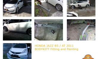 Honda Jazz RS 2011, Mugen Body kit fitting and painting.