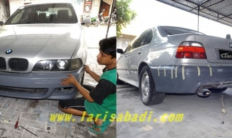 BMW 520i E39 Silver, Pasang dan Cat Bodykit